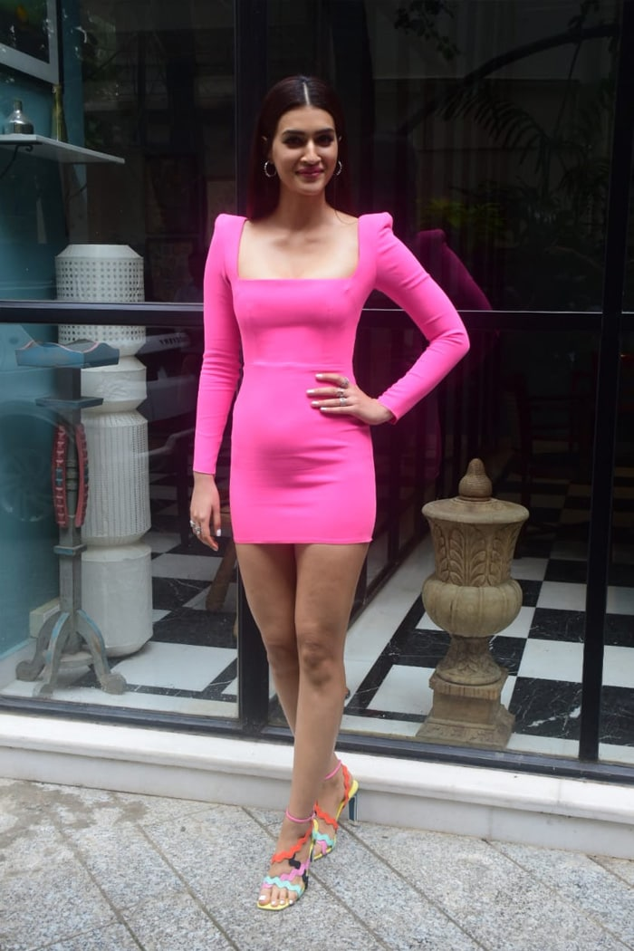 Kriti Sanon was photographed outside the office of production company Maddock Films.
