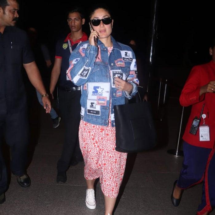 करीना कपूर और कृति सेनन कूल लूक में मुंबई एयरपोर्ट पर आईं नजर