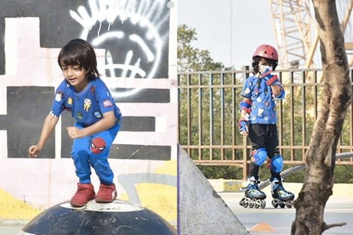 Riteish and Genelia Deshmukh\'s children, Riaan and Rahyl Deshmukh were spotted skating at the Carter road.