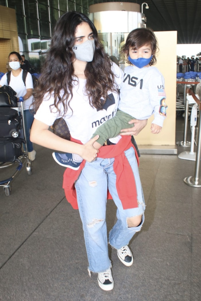 Arjun Rampal\'s girlfriend Gabriella Demetriades was pictured with her baby son at the airport.