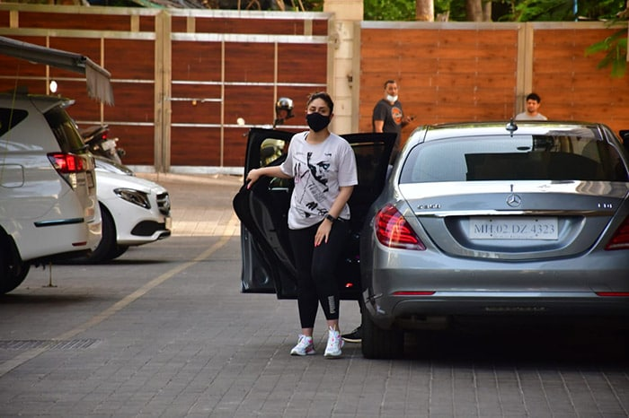 Actress Kareena Kapoor Khan was on Wednesday spotted outside her gym in Mumbai.