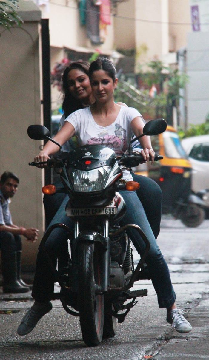 Katrina treats fan to bike ride!