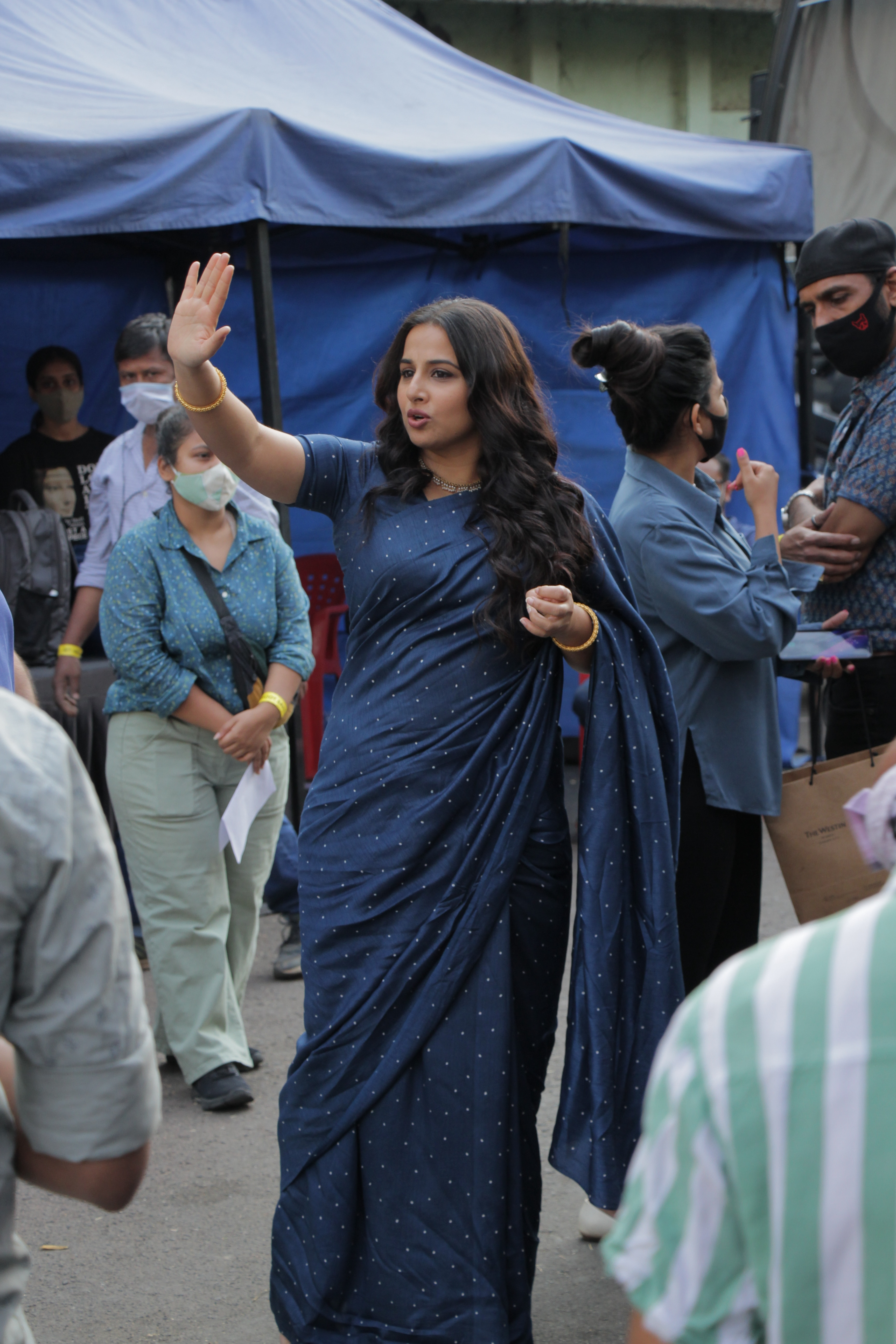 Actress Vidya Balan was spotted at a shooting set in the film city, Mumbai on Saturday.