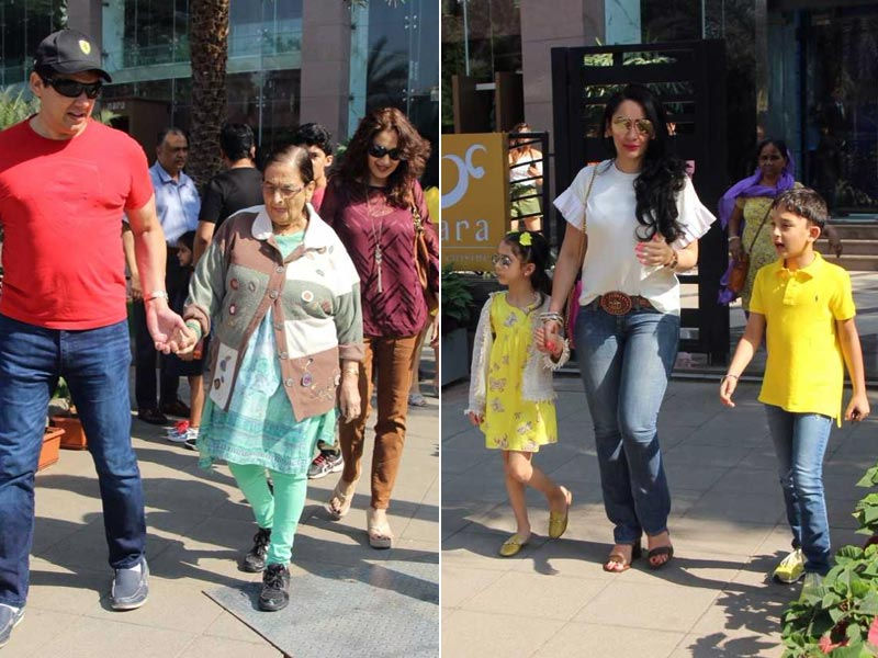 Madhuri Dixit, Manyata Dutt Step Out With Families On Sunday