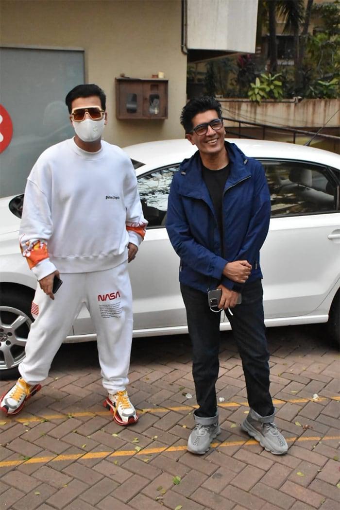 Manish Malhotra and Karan Johar happily posed together.