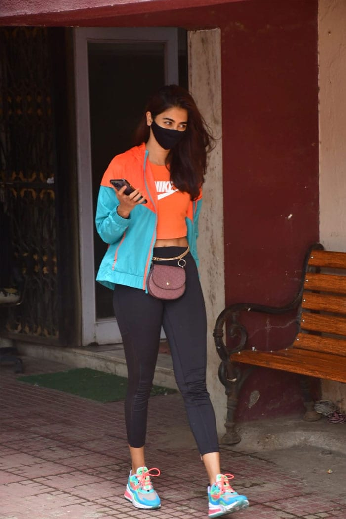 Pooja Hegde looked pretty as she was snapped outside her Pilates studio.