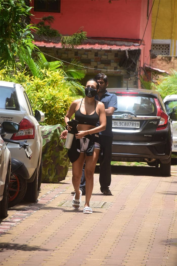 Actress Malaika Arora was spotted outside her yoga studio on Monday.