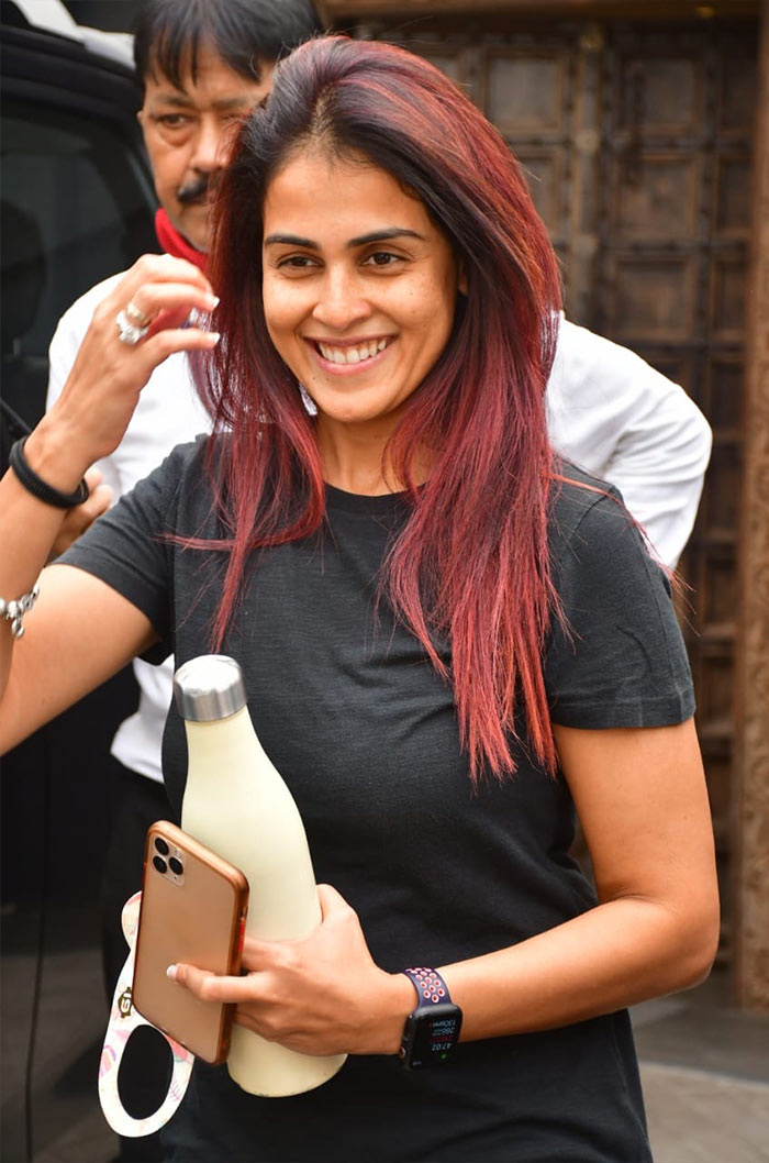 Genelia D\'Souza was all smiles as she was photographed outside her gym.
