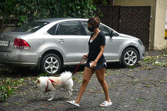 Actress Malaika Arora was on Tuesday spotted taking a walk with her dog in Mumbai.
