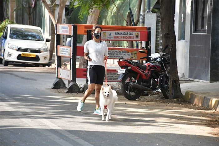 Bollywood diva Malaika Arora was spotted taking her dog for a walk on Friday.