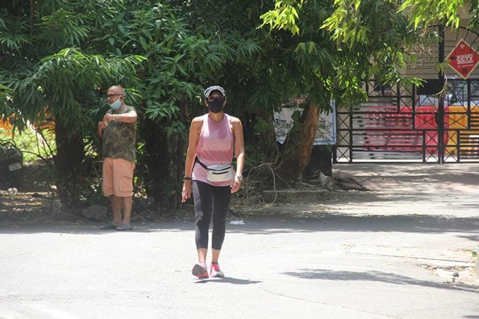 Mandira Bedi was photographed taking a walk near her residence in Bandra.