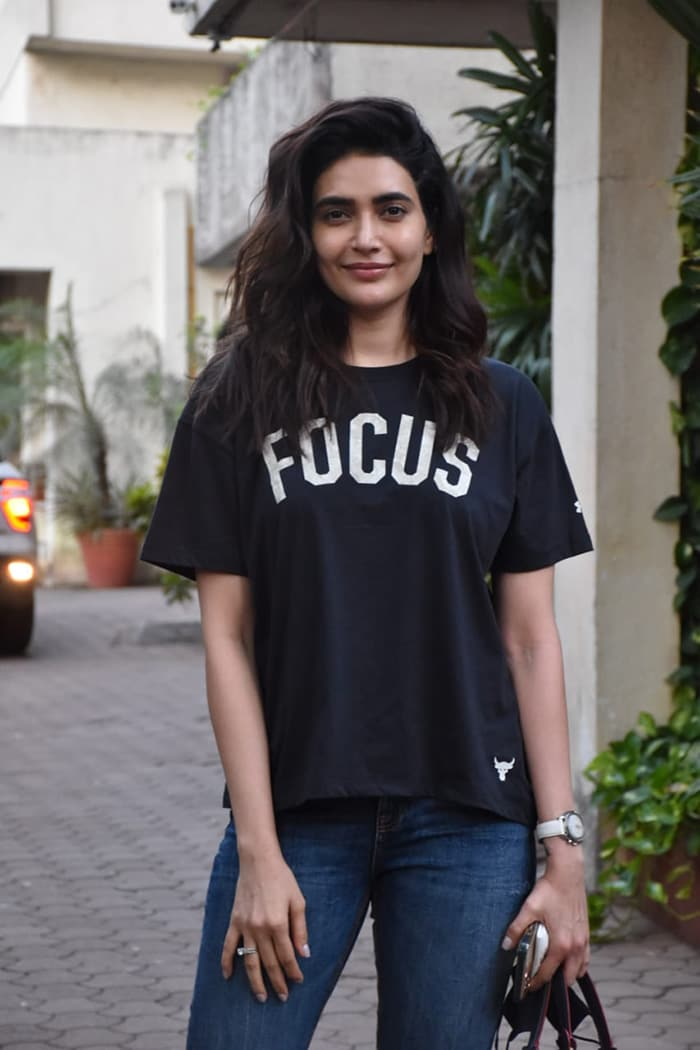 Karishma Tanna picked out a comfy T-shirt as she stepped out in Juhu.