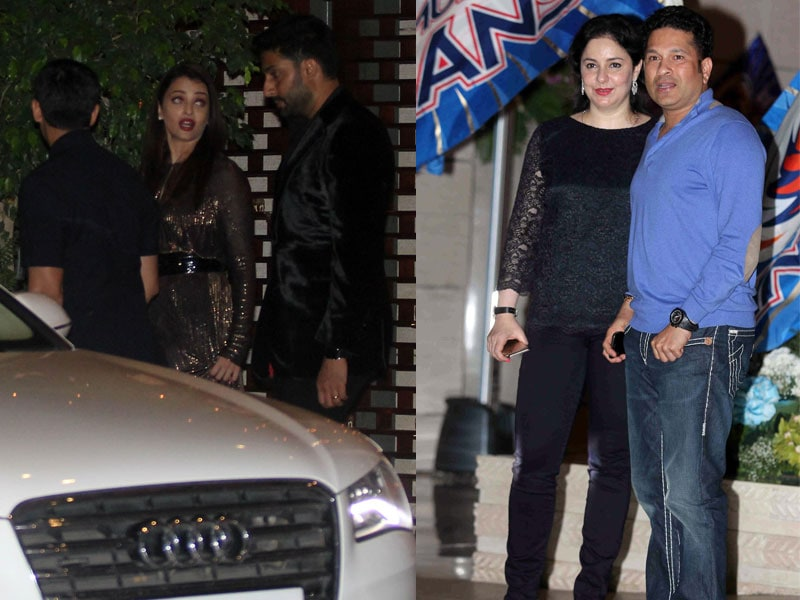 Aishwarya, Sachin and Anjali at Ambanis Party For Mumbai Indians