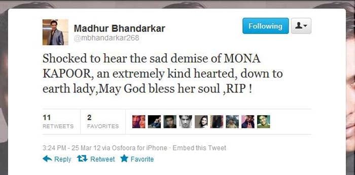 Bollywood condoles Mona Kapoor\'s death on Twitter