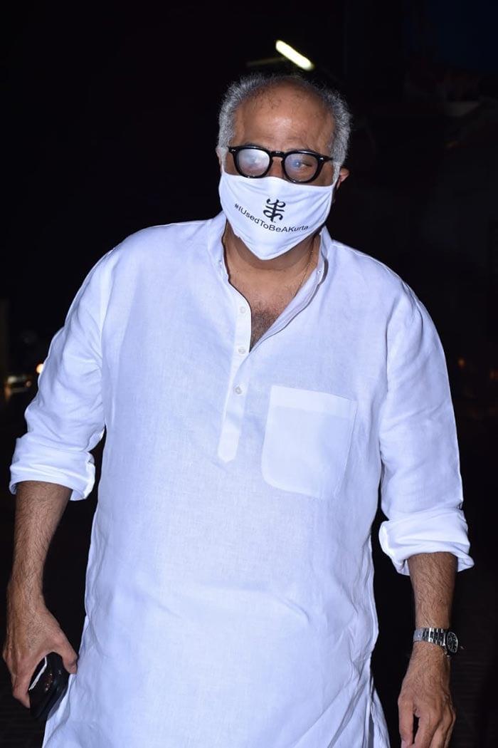 Filmmaker Boney Kapoor was also snapped at the screening of his daughter Janhvi Kapoor\'s film.
