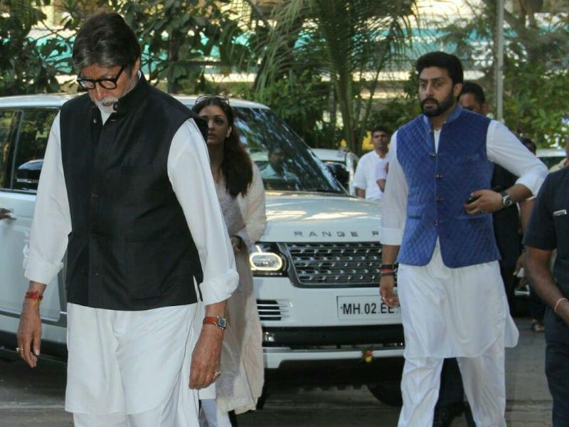 Amitabh Bachchan, Abhishek And Aishwarya Attend Om Puri's Prayer Meet