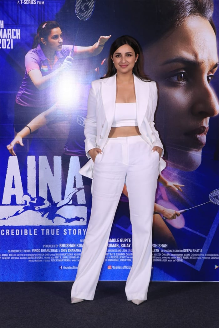 Actress Parineeti Chopra was pictured at the trailer launch event of her upcoming film Saina on Monday.