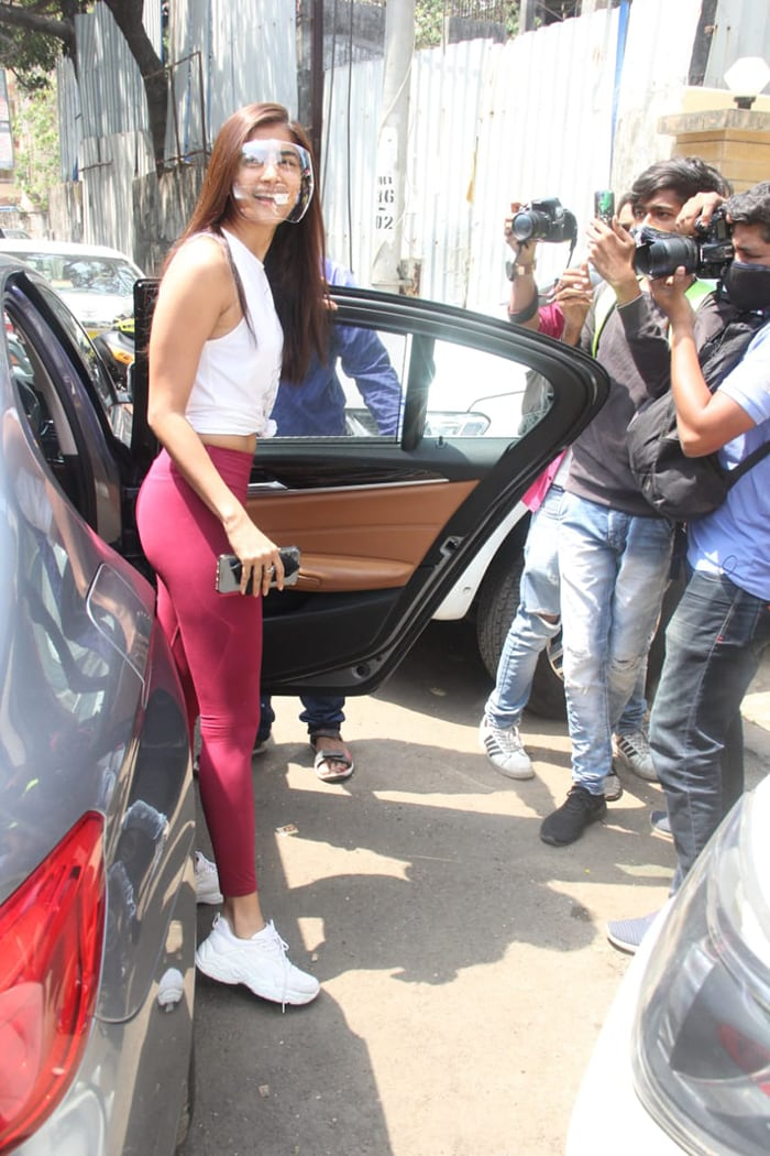 Actress Pooja Hegde was spotted outside her gym in Santa Cruz on Wednesday.