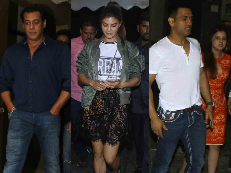 Salman Khan, Jacqueline Watch Race 3 With MS Dhoni