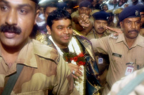 Photo : Hero's welcome for A R Rahman