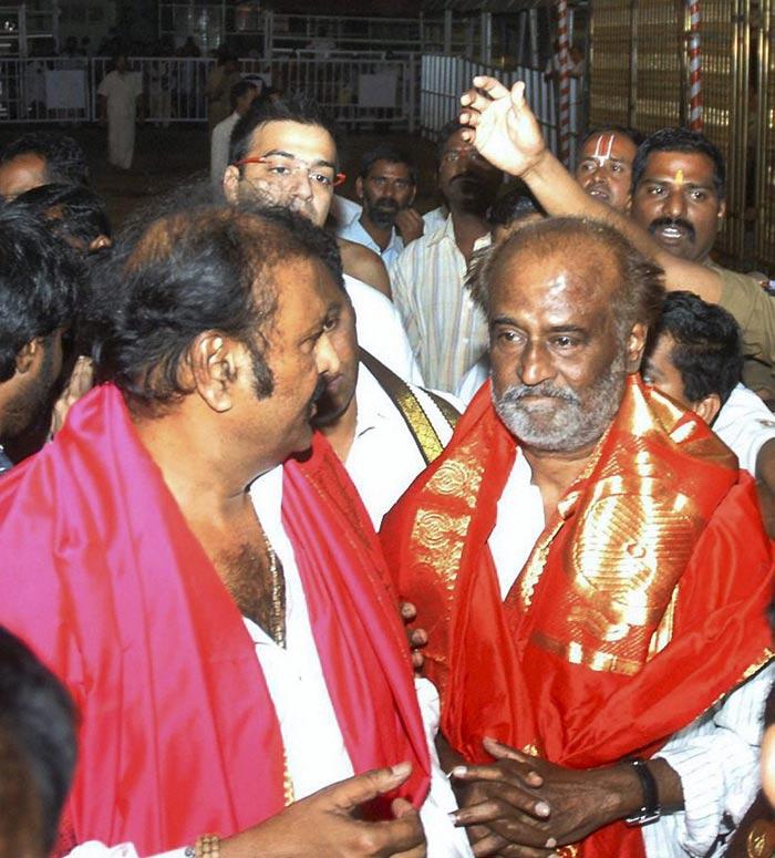 Rajinikanth prays at Tirumala Temple