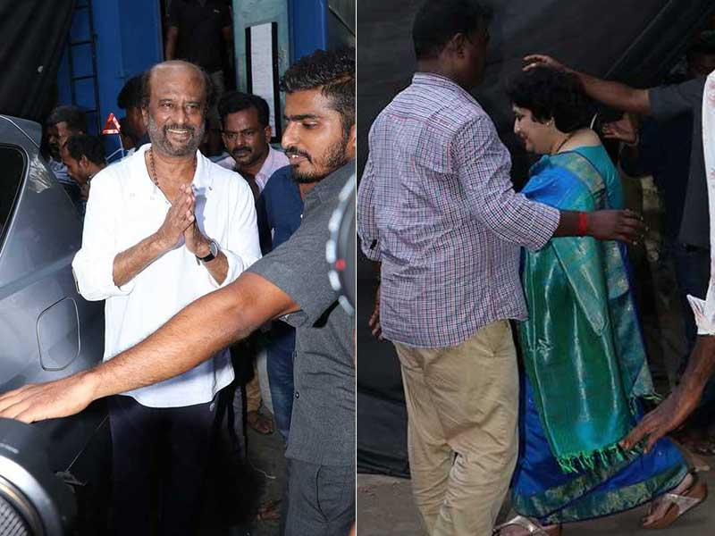 Superstar Rajinikanth Visits The Sets Of Darbar With Wife Latha