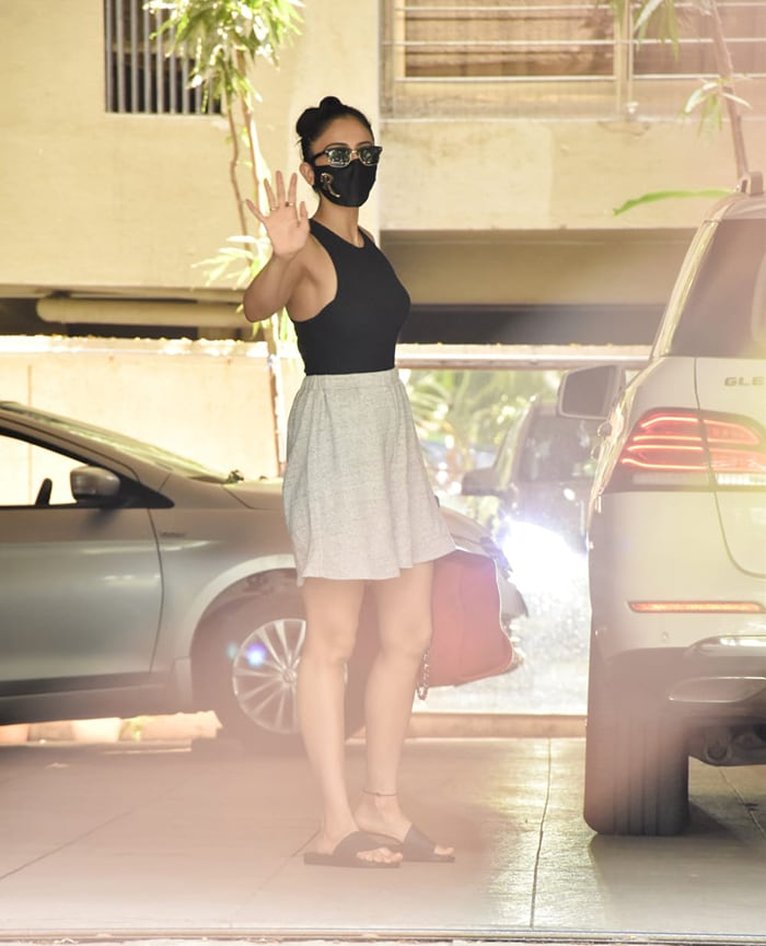 Actress Rakul Preet Singh was spotted in Juhu on Thursday.