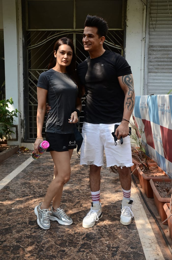 Love birds Prince Narula and Yuvika Chaudhary were photographed in Versova.