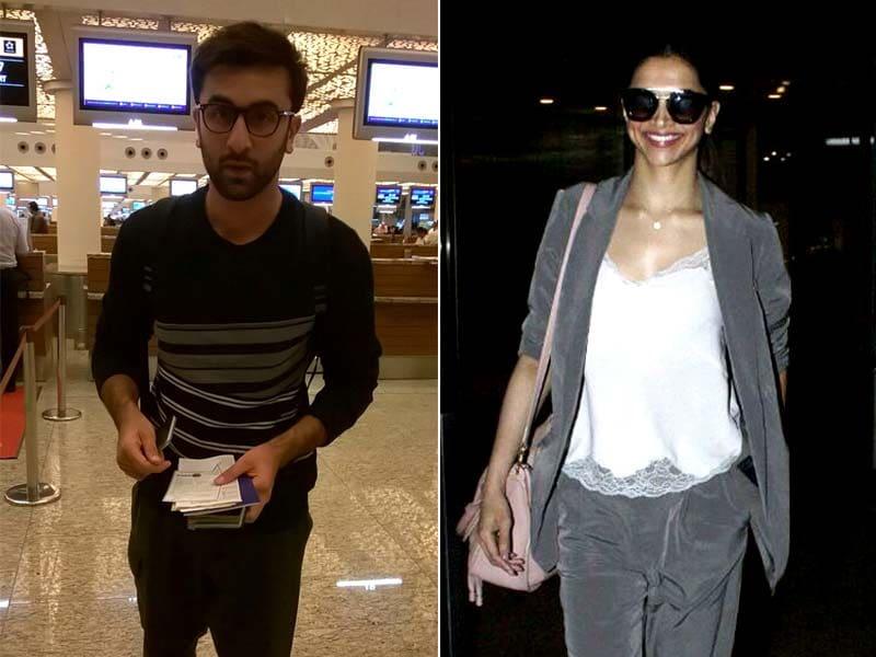 Photo : एयरपोर्ट पर 'तमाशा': स्टाइल में दिखीं दीपिका तो सिंपल लुक में नजर आए रणबीर