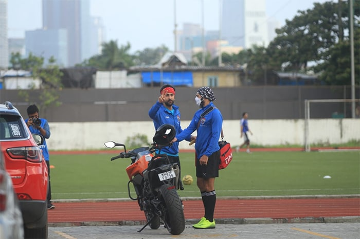 Actor Ranbir Kapoor was on Sunday pictured outside a playground after he enjoyed playing a match of football.