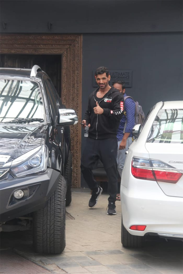 John Abraham was spotted outside his gym.