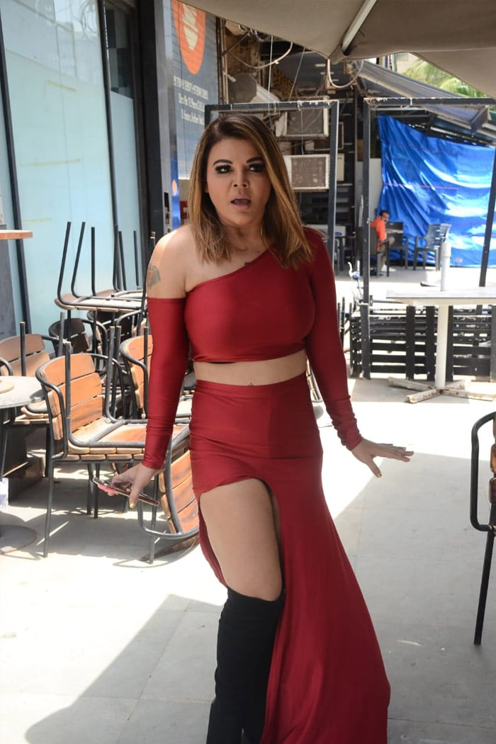 Rakhi Sawant was photographed at the success party of her latest song Dream Mein Entry.