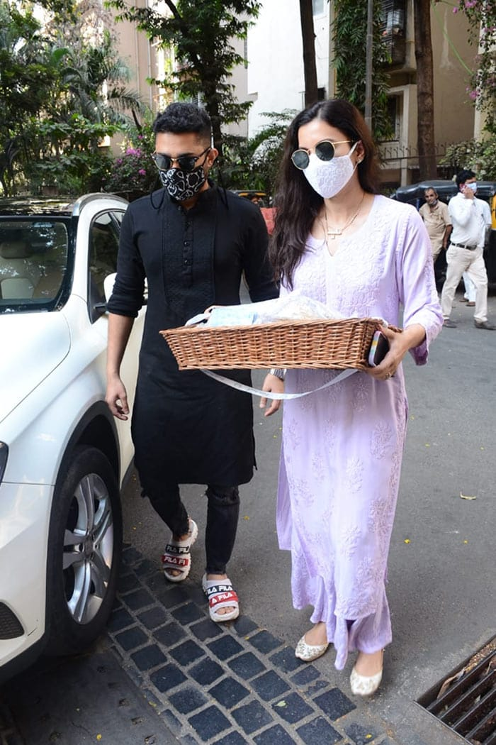 Celebrity couple Gauhar Khan and Zaid Darbar were pictured in Versova.
