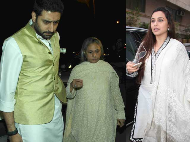 Abhishek, Jaya Bachchan, Rani at Ravi Chopra's Prayer Meet