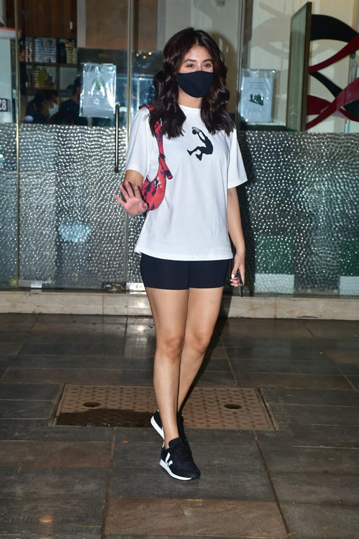 TV actress Kritika Kamra was pictured outside a salon in the city.