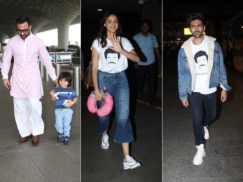Star-Studded Airport With Saif Ali Khan, Ananya Panday, Kartik Aaryan