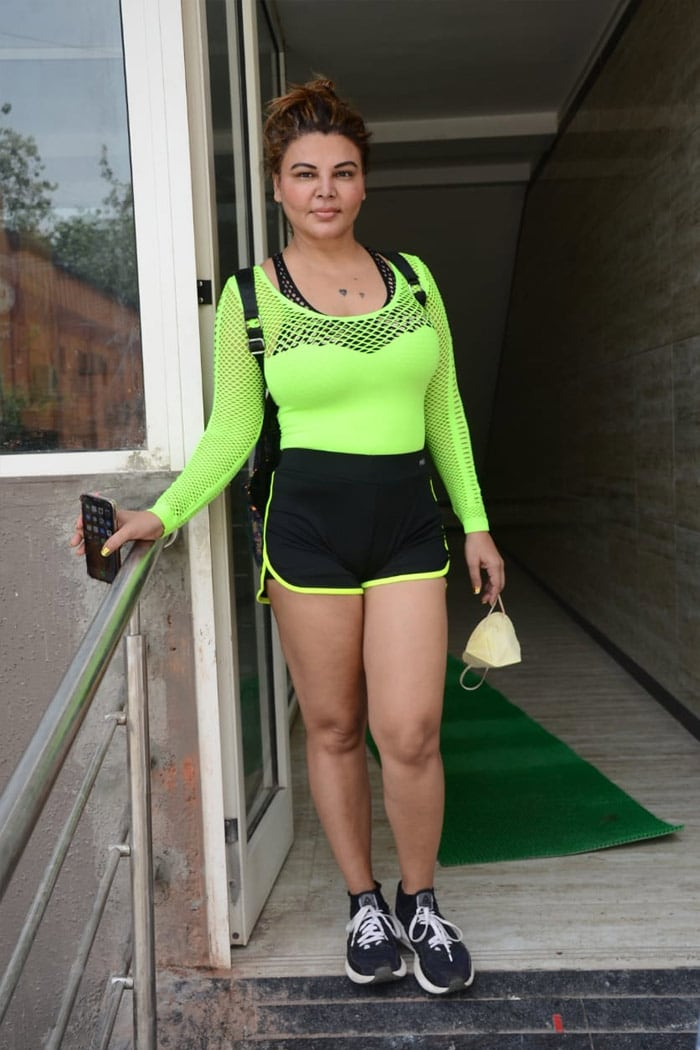 Rakhi Sawant posed happily for the shutterbugs outside her gym.