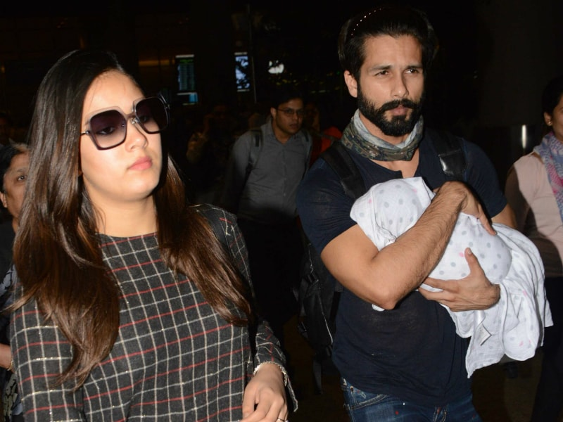 Shahid Kapoor Travels With Wife Mira And Daughter Misha