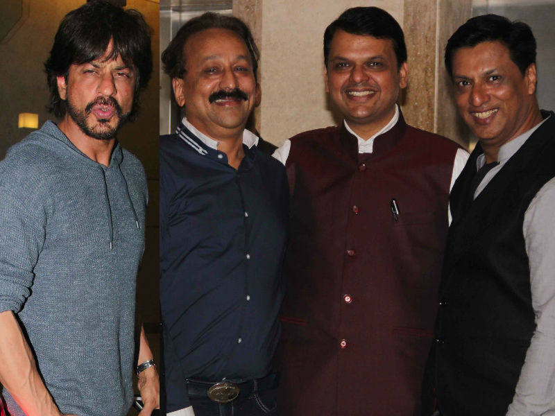 Shah Rukh, Devendra Fadnavis, Baba Siddique At Madhur Bhandarkar's Party