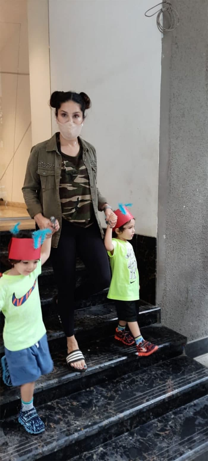 Sunny Leone was pictured with her kids in Andheri.
