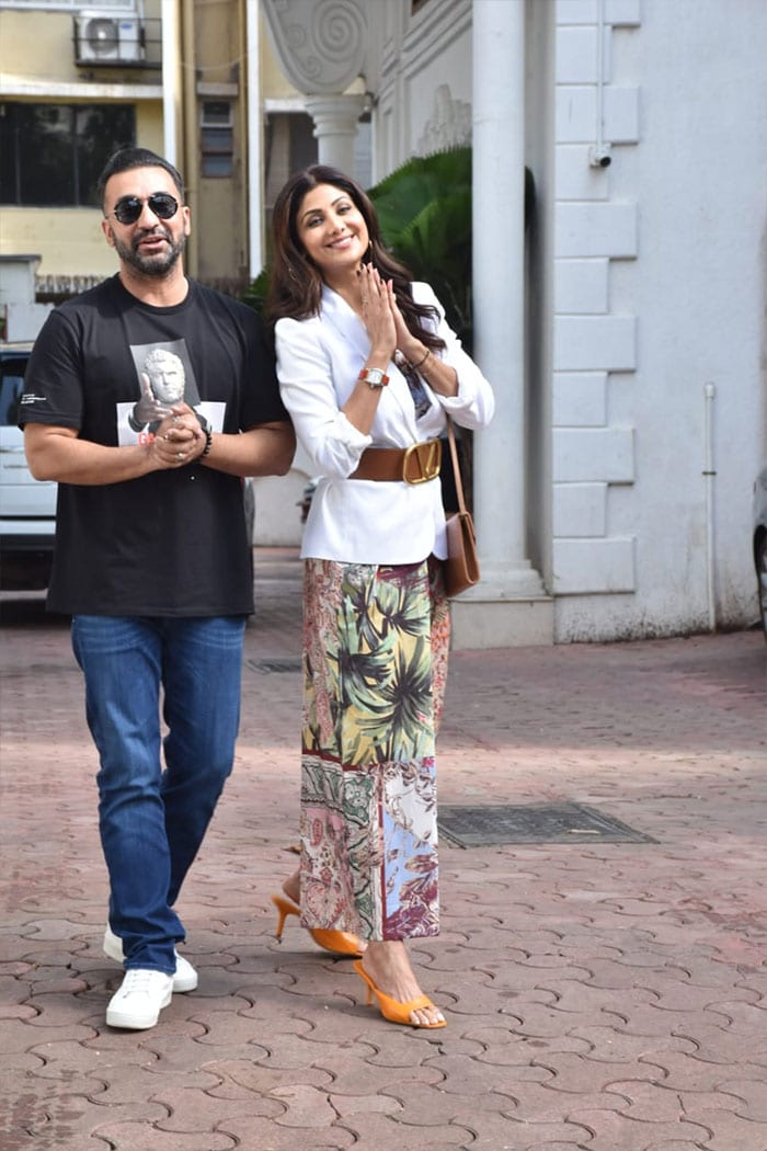 Actress Shilpa Shetty and her husband Raj Kundra were spotted outside their residence in Juhu on Tuesday. They stepped out to celebrate Shilpa\'s 46th birthday.