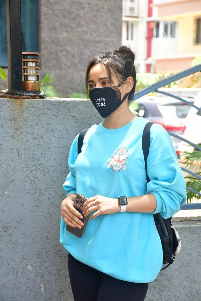 Neha Sharma was pictured outside her gym.