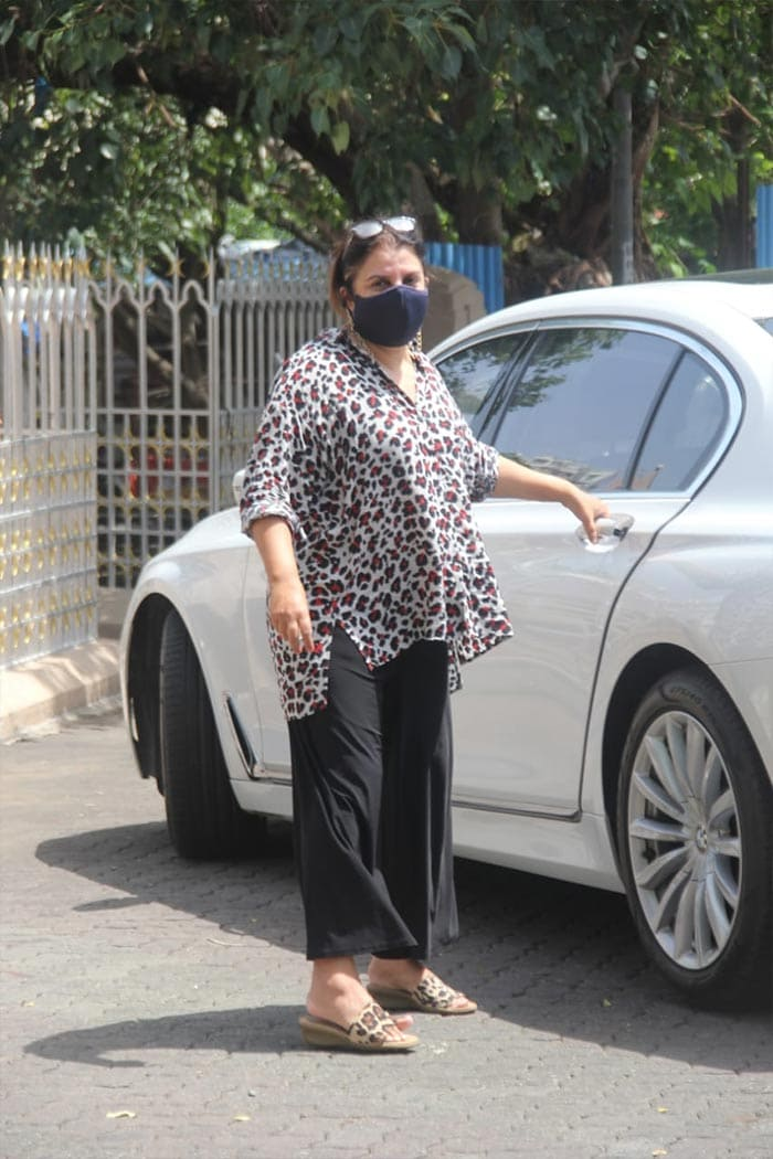 Filmmaker Farah Khan was photographed outside the Mount Mary church in Bandra.