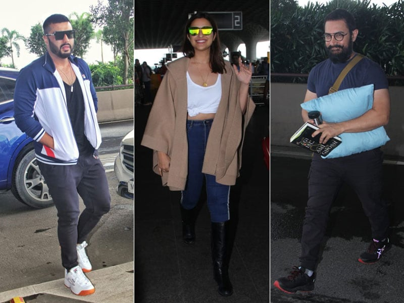 Shooting Stars Aamir, Arjun, Parineeti Fly Out Of Mumbai
