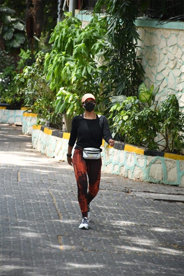 Mandira Bedi was pictured taking a brisk walk near her residence in Bandra.