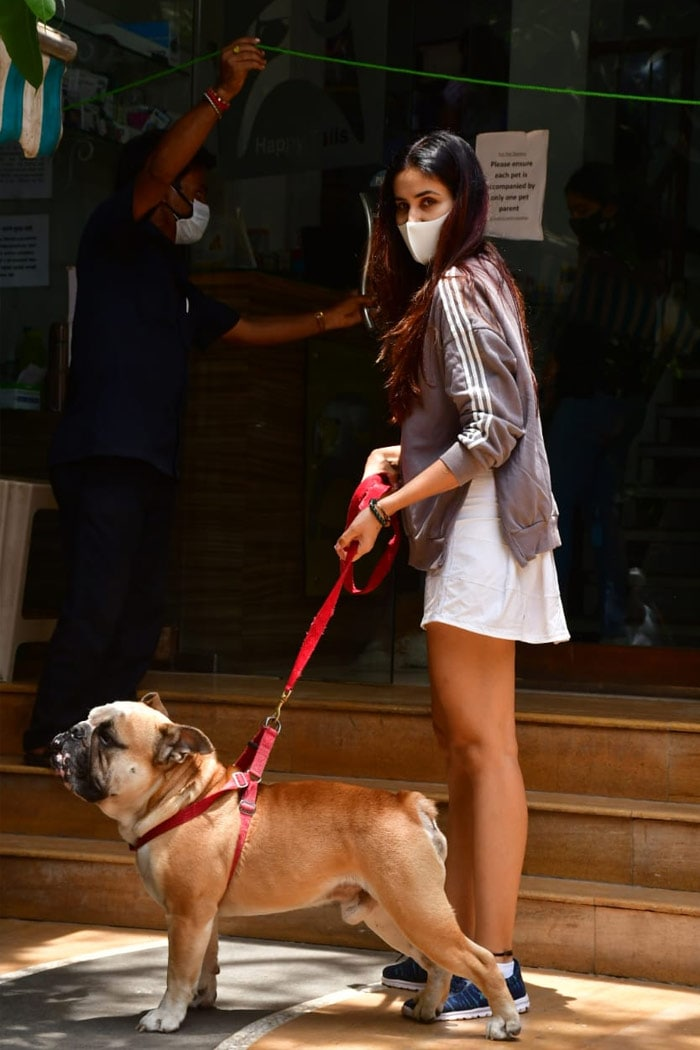 Sonnalli Seygall was photographed with her dog, outside a pet clinic in Bandra.