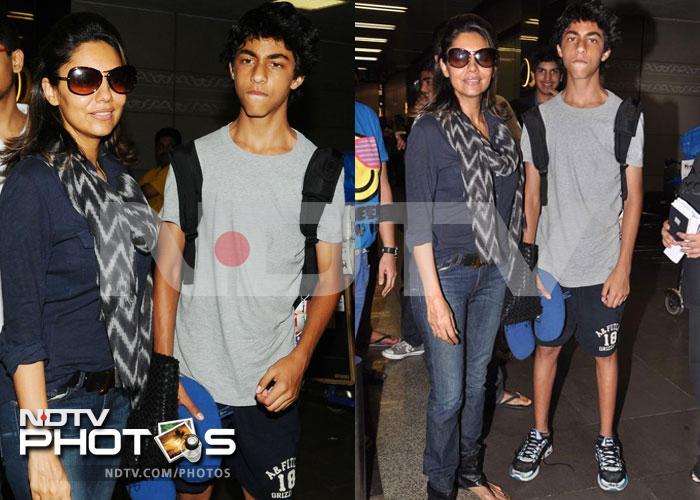 Gauri Khan and SRK Jr leave for London