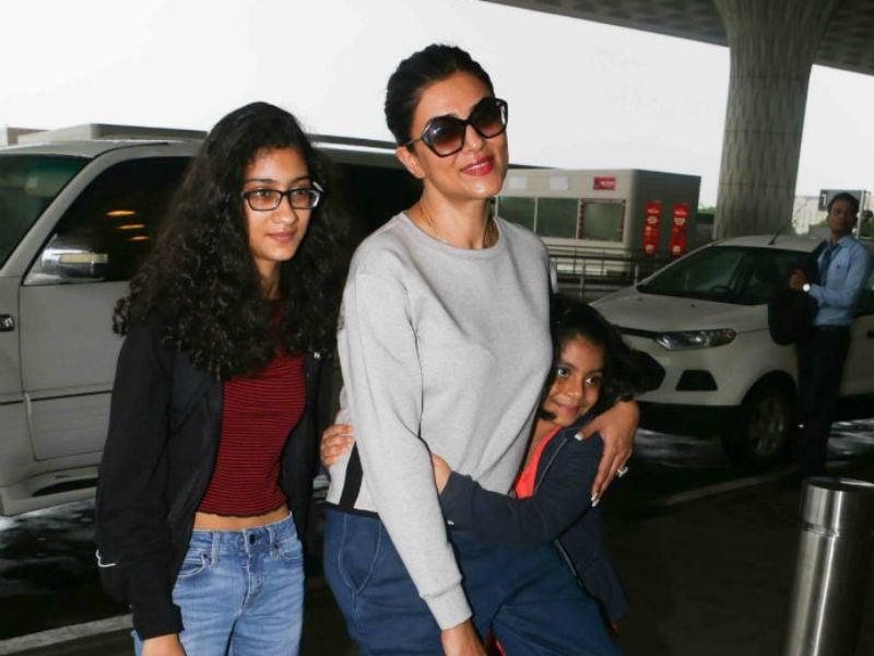 Photo : मां सुष्मिता सेन को एयरपोर्ट पर विदा करने आईं अलिसाह और रेनी...