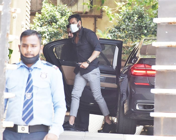 Actor Ajay Devgn was photographed in Juhu.