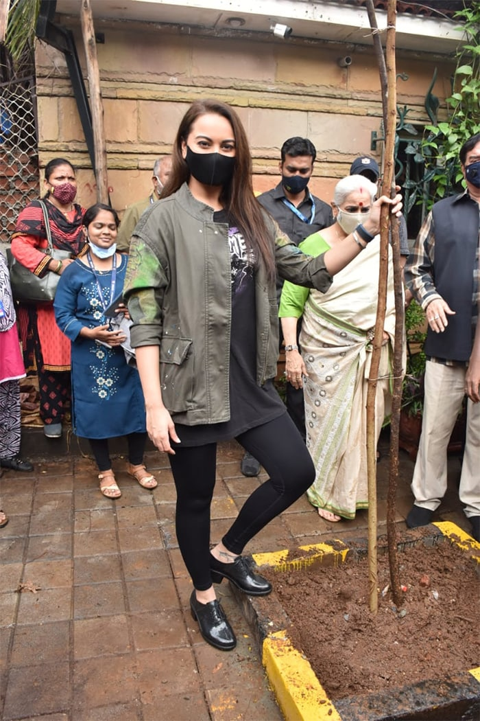 Sonakshi Sinha was photographed at a tree plantation drive in the city.